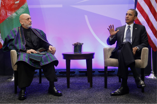 President Obama, right, during his meeting with Afghan President Hamid Karzai at the NATO Summit in Chicago, May 20, 2012. (Pablo Martinez Monsivais/AP)