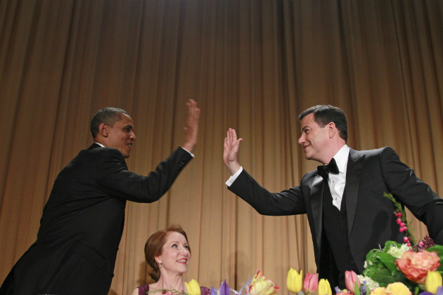 President Obama high-fives Jimmy Kimmel at the White House Correspondents' Association Dinner, April 28, 2012. (Haraz N. Ghanbari/AP)