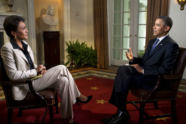 President Obama participates in an interview with ABC's Robin Roberts, May 9, 2012. (Pete Souza/The White House)