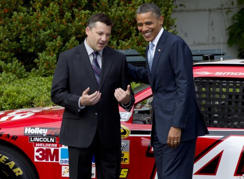 President Obama poses with NASCAR driver Tony Stewart at the White House, April 17, 2012. (Getty)