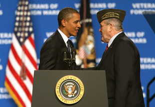 Obama at the Veterans of Foreign Wars conference in July (Justin Sullivan/Getty Images)