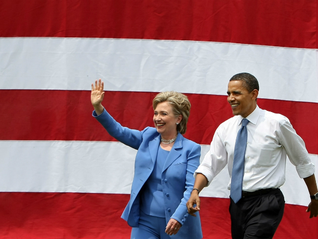 Clinton's first appearance with Obama after exiting the primary. (Mario Tama/Getty Images)