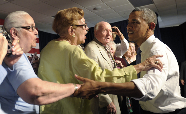 Obama greets residents of Century Village in West Palm Beach, Fla. (AP/Susan Walsh)