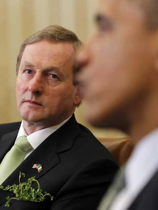President Barack Obama meets with Irish Prime Minister Enda Kenny, Tuesday, March, 20, 2012. (Pablo Martinez Monsivais/AP)