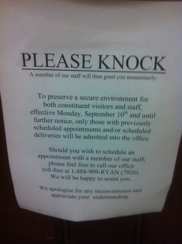 The sign on Paul Ryan's office door (Chris Moody/Yahoo News)