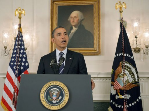 President Barack Obama delivers a statement on Tropical Storm Isaac in the Diplomatic Reception Room of the White House. (Mandel Ngan/AFP)