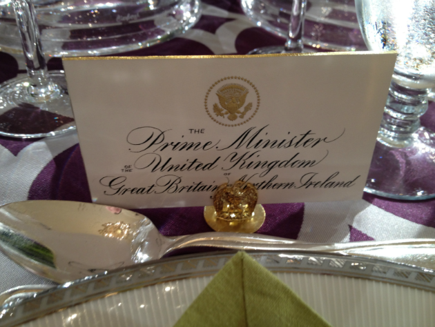 British PM Cameron's State Dinner preview placecard