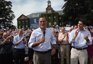 Romney and Paul Ryan in New Hampshire on Monday (John Moore/Getty Images)