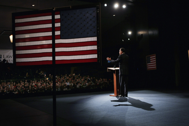 Romney addressing voters in Appleton, Wisconsin (Scott Olson/Getty Images)