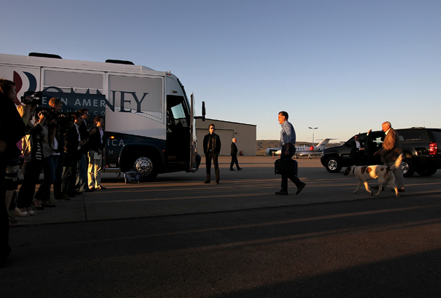 Romney boards his campaign bus in Colorado. (Justin Sullivan/Getty Images)