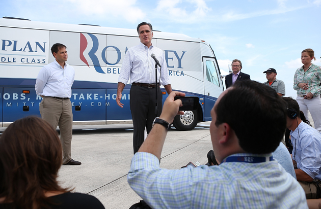 Romney speaking to reporters in Miami (Justin Sullivan/Getty Images)