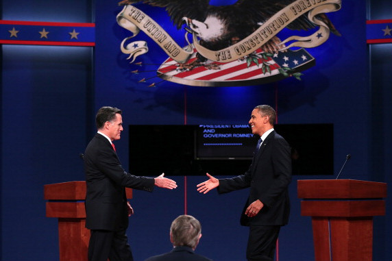 Romney and Obama shake hands at their debate in Denver on Oct. 3, 2012. (Getty)
