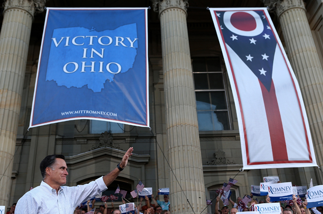 Romney in Chillicothe, Ohio (Justin Sullivan/Getty Images)