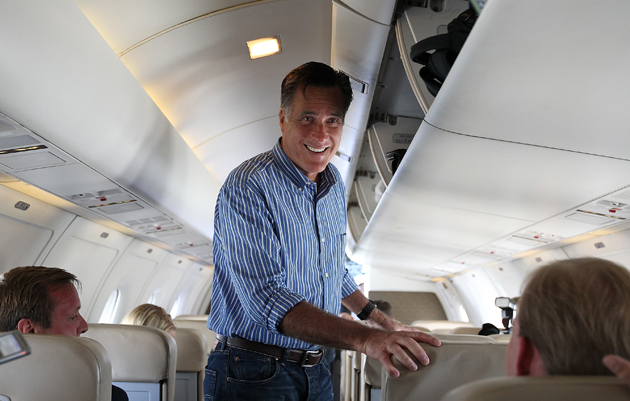 Romney on his campaign plane (Justin Sullivan/Getty Images)