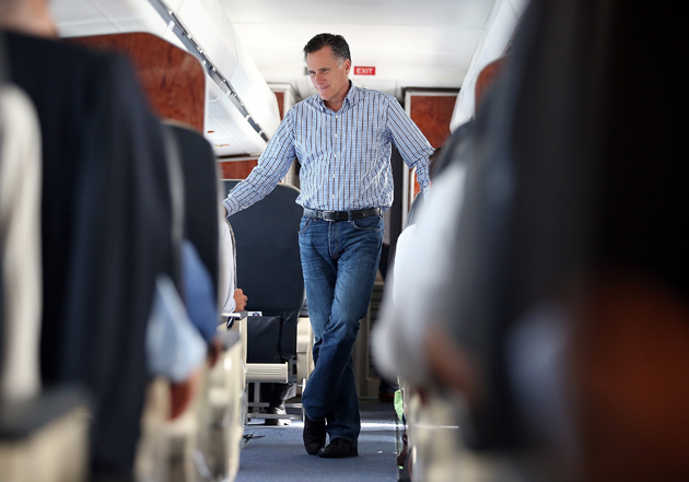 Romney on his campaign plane en route to Virginia (Justin Sullivan/Getty Images)