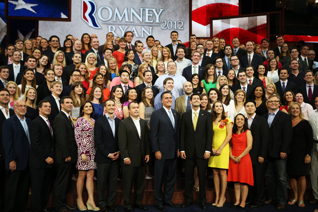 Romney and Ryan with campaign staffers at the RNC (Chip Somodevilla/Getty Images)