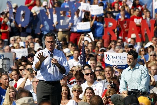 Romney and Ryan in Powell, Ohio (Matt Sullivan/Getty Images)