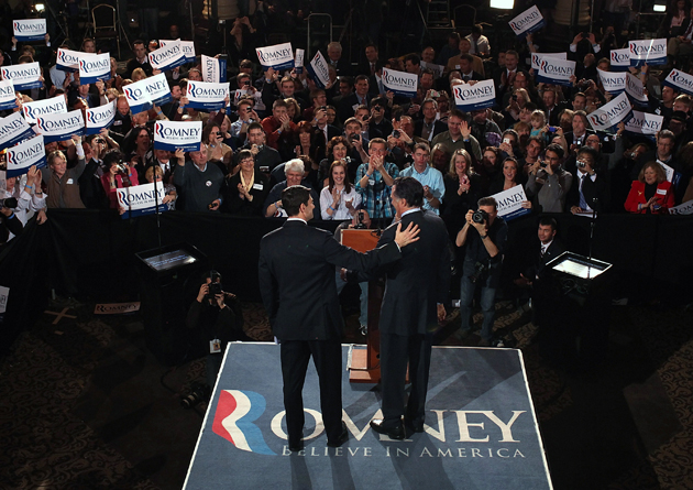 Ryan and Romney on election night in Wisconsin in April (Justin Sullivan/Getty Images)