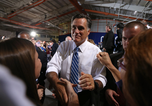 Romney in Marion, Ohio, on Sunday (Justin Sullivan/Getty Images)