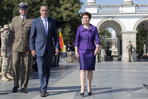 Romney touring the Tomb of the Unknown Solider in Warsaw, Poland (Carsten Koall/Getty Images)