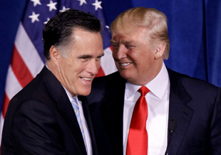 Romney and Trump in February (Julie Jacobson/AP)