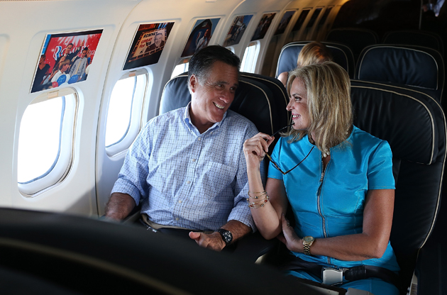The Romneys on their campaign plane (Justin Sullivan/Getty Images)