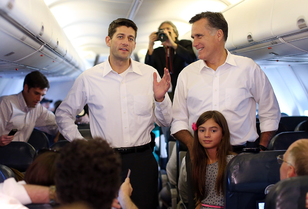 Ryan and Romney on the campaign plane en route Charlotte (Justin Sullivan/Getty Images)