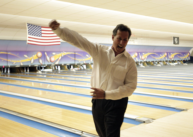 Santorum bowling in Wisconsin on Saturday (Jae C. Hong/AP)