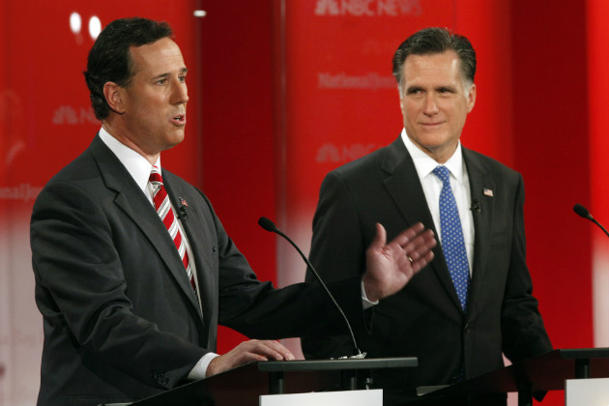 Santorum and Romney clash during a debate on Jan. 23, 2012. (Paul Sancya/AP)