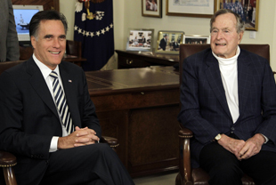 Romney and George H.W. Bush in March (Pat Sullivan/AP)