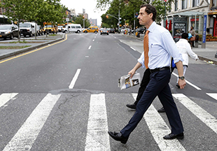 Anthony Weiner headed to a campaign event. (Brendan McDermid/Reuters)