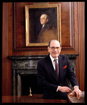In this 1992 photo, Arthur Ochs Sulzberger poses for a photo in the New York Times boardroom beneath a picture of Arthur Ochs, in New York. In 1896, Ochs acquired control of the New York Times. (AP Photo/The New York Times Archive, Burk Uzzle)