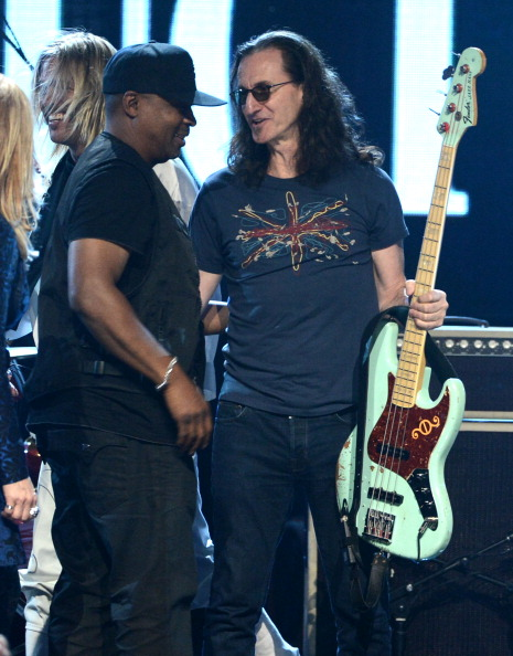 Chuck D and Geddy Lee in the closing jam [Kevin Winter/Getty Images]