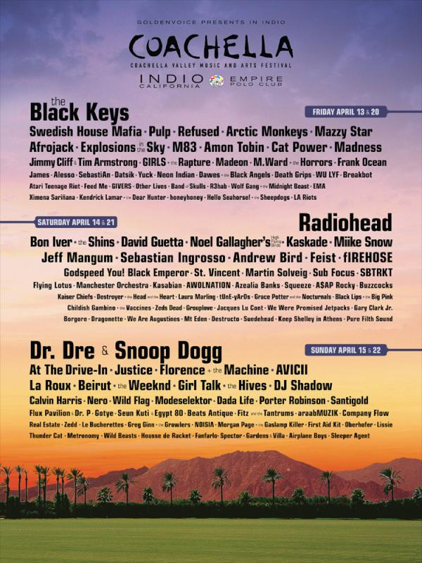 Coachella 2012 Lineup Revealed! The Black Keys, Radiohead, Dr. Dre & Snoop Dogg Headline