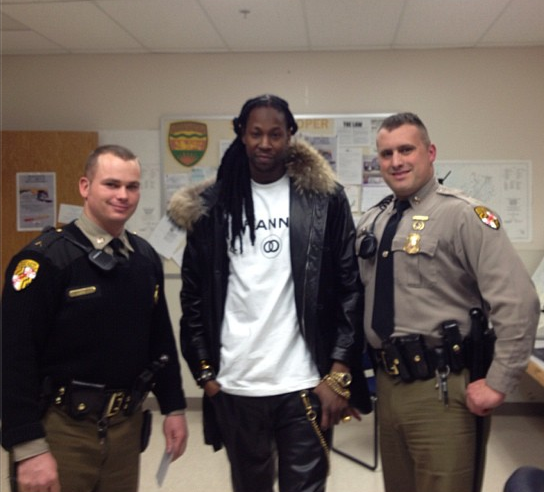 2 Chainz with Maryland State Police officers (Instagram)