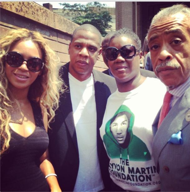 Beyonce and Jay Z with Sybrina Fulton and Rev. Al Shaprton [Twitter/@TheRevAl]