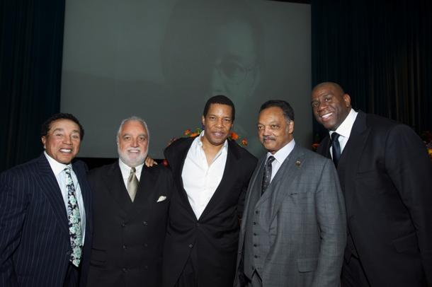"Smokey Robinson, Danny Bakewell Sr., Tony Cornelius, Rev. Jessie Jackson, Earvin ""Magic"" Johnson at Don Cornelius Memorial Celebration. Earl Gibson III/Getty Images"