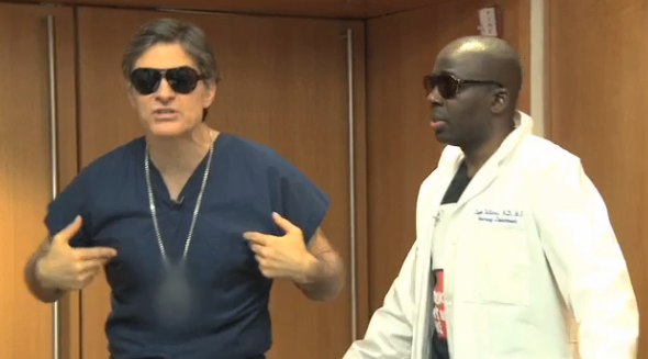 Dr. Oz and Dr. Olajide Williams receive rap lessons from Doug E. Fresh.