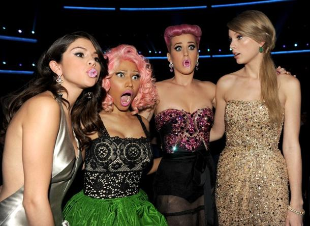 Selena Gomez, Nicki Minaj, Katy Perry, Taylor Swift/Getty Images, Kevin Winter
