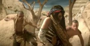 Rihanna in tribal dance sequence;