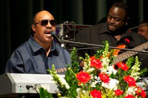 Stevie Wonder performs at Don Cornelius Memorial Celebration. Earl Gibson III/Getty Images