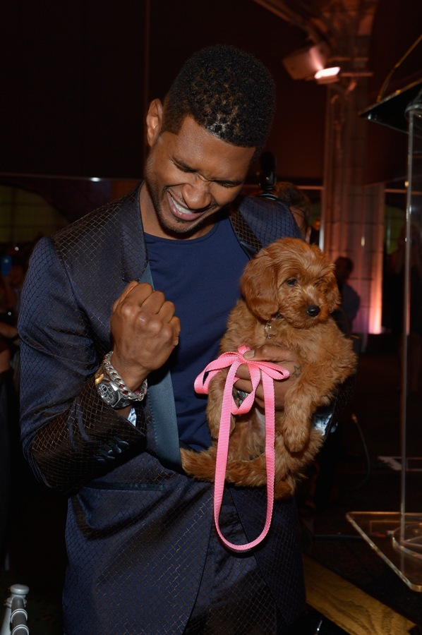 Usher and Poppy (photo: Mike Coppola, Getty Images)