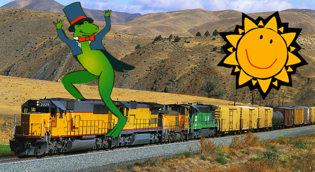 "[Editor's note: Mr. O'Connor requested ""pictures of a Frog, Sunshine, Train, Mountain and some land."" So, of course, we obliged!]"