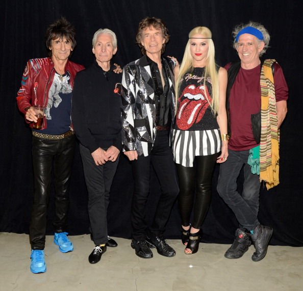 The Rolling Stones with Gwen Stefani, backstage at the Staples Center May 3 [photo: Kevin Mazur/Getty Images]