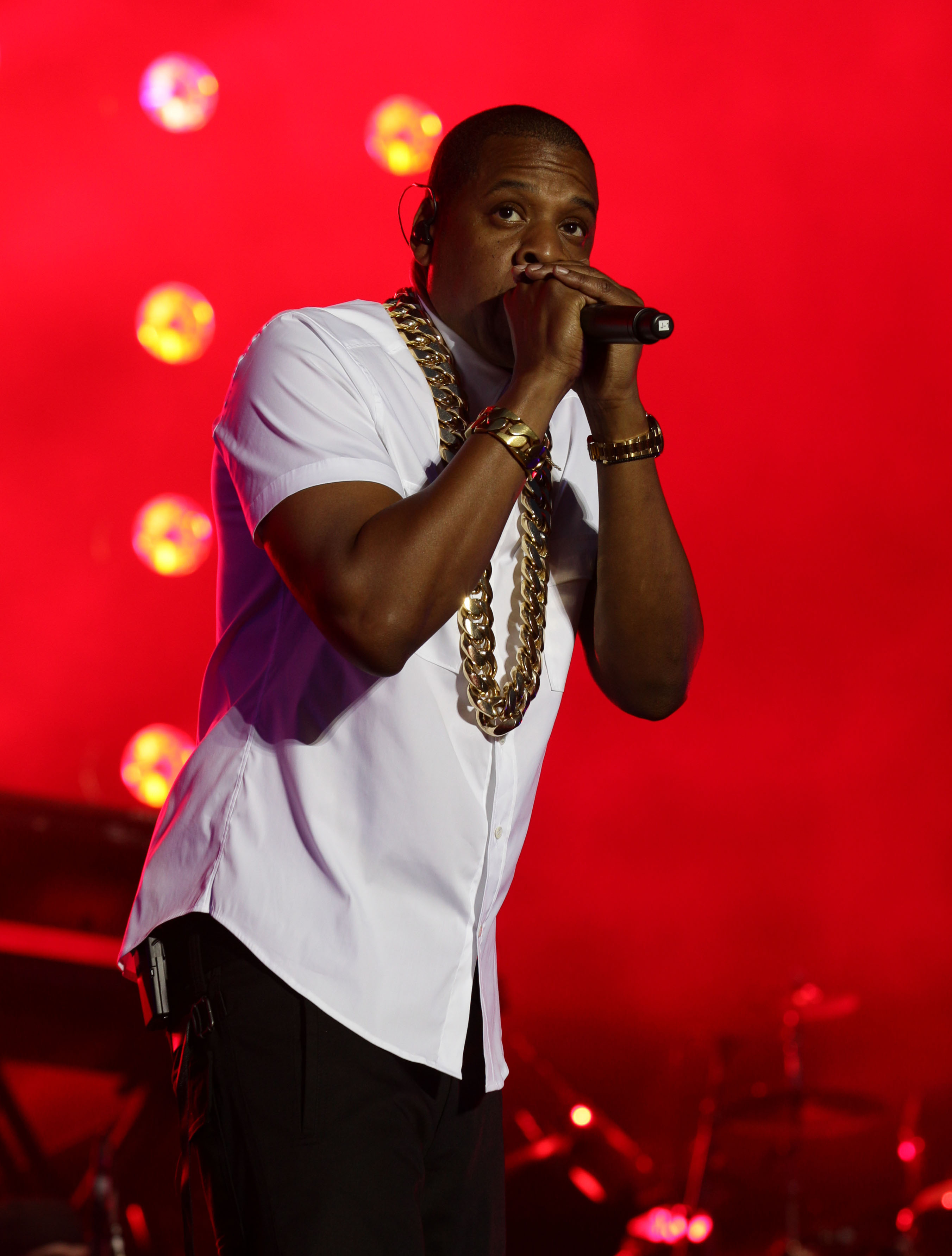 Jay Z performing on the Main Stage at the Yahoo! Wireless Festival, at the Queen Elizabeth Olympic Park in East London.