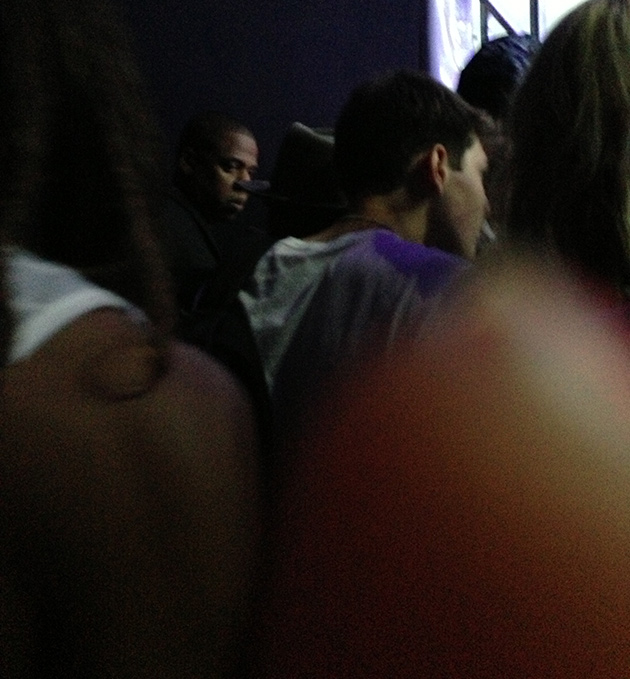 Jay Z watching Justin Timberlake from the private viewing platform.