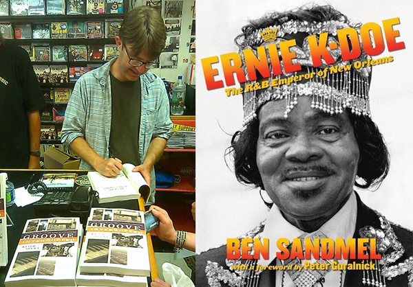Keith Spera signs books; Ernie K. Doe DVD cover