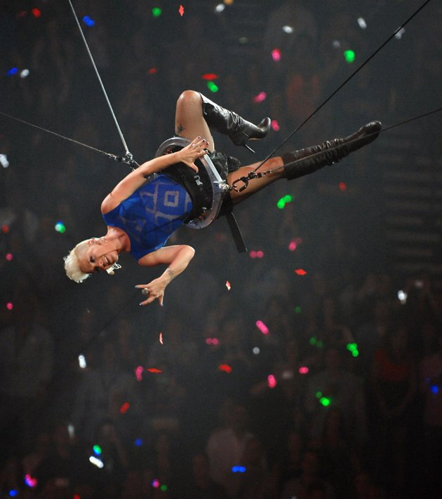 Pink in flight at the MGM Grand (Photo by Bryan Steffy: Getty Images for Clear Channel)