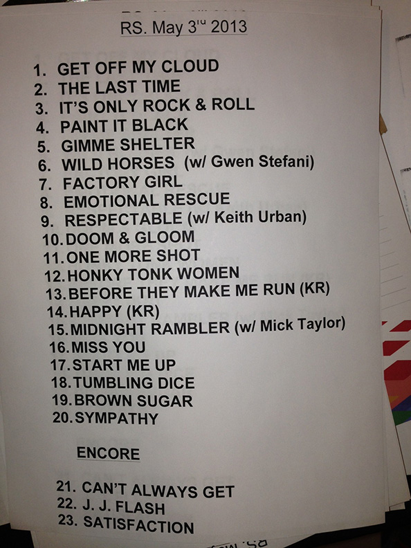 The Rolling Stones' setlist [courtesy of AEG Live]