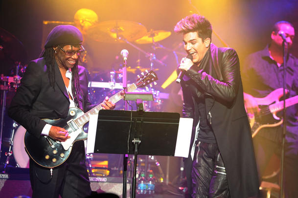 Nile Rodgers & Adam Lambert in January 2013 [photo: Shahar Azran/WireImage]